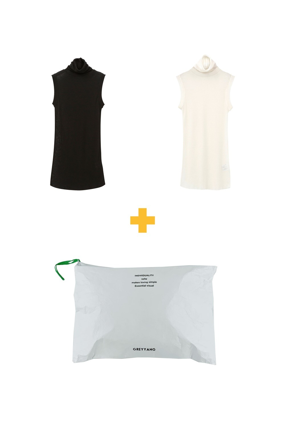 [수지 착용]TURTLE SLEEVELESS T_IVORY + BLACK [ (1+1+1) , POUCH 증정 ]