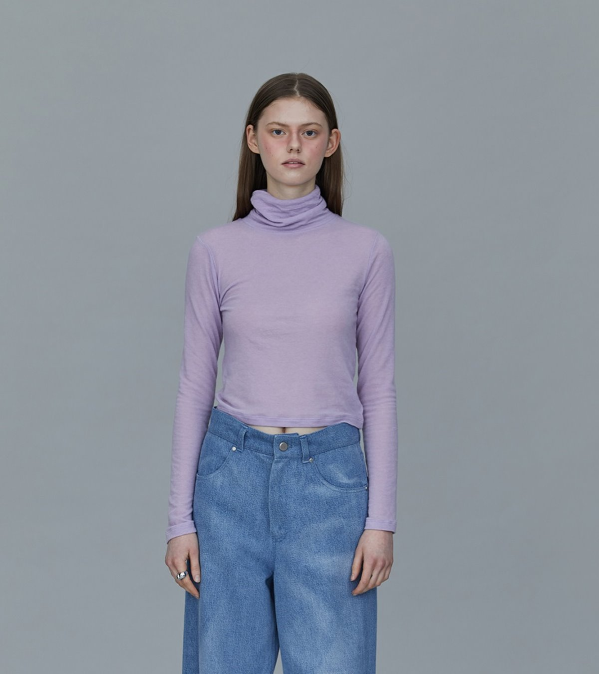 TS93TW06 WOOL SILK CROP TOP LAVENDER